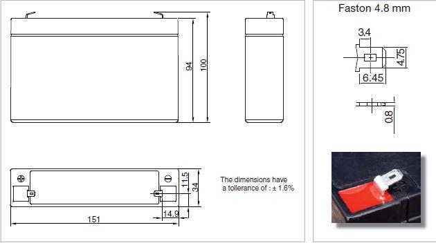 6 вольт 1.2-1.5 ач  размеры и расположение клемм